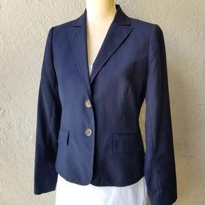 J. Crew Navy Blue Pinstripe Laine/Wool Blazer